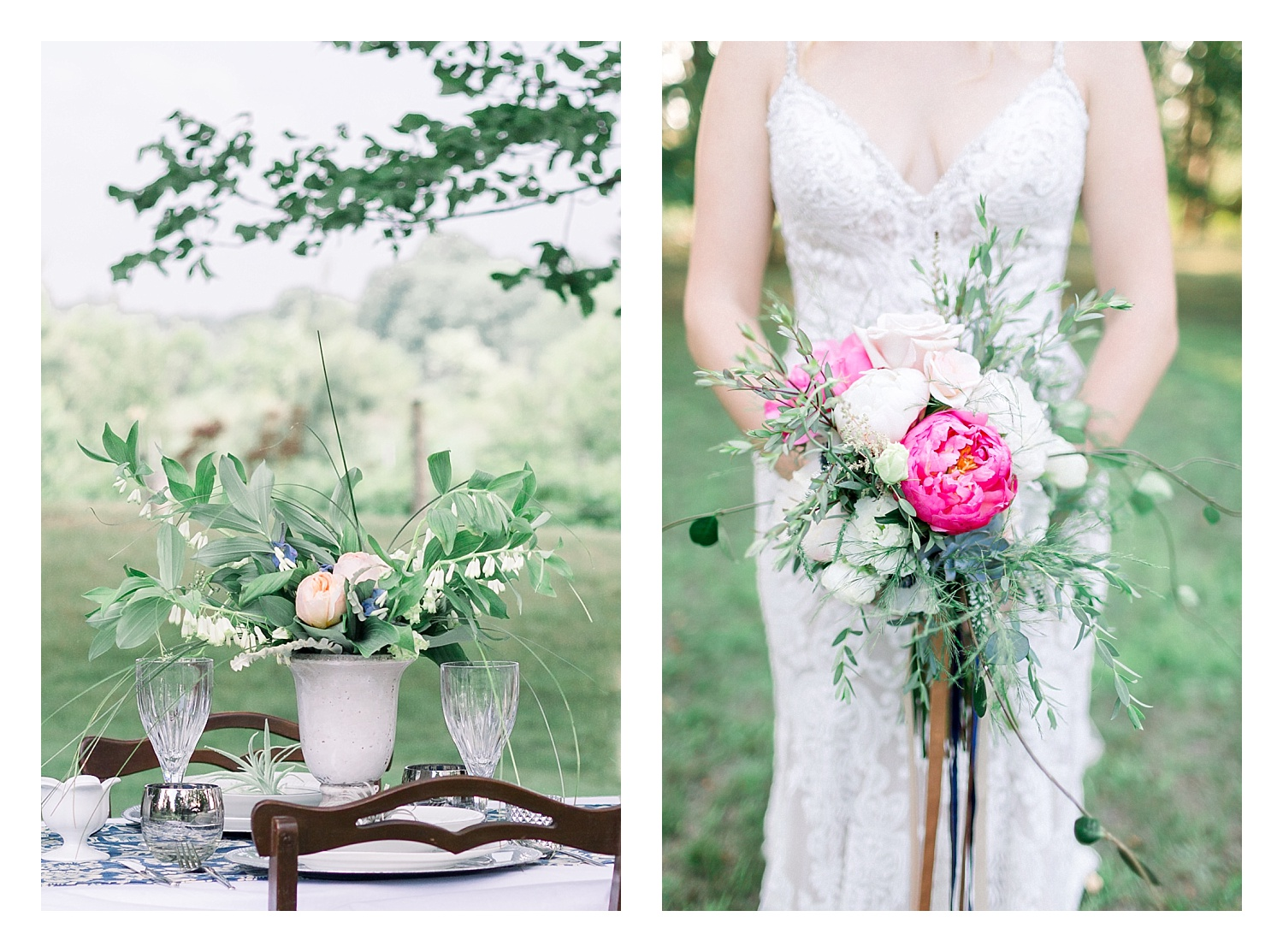 Left, floral design by Ebb & Flow Flowers. Right, by Hanna Mott.