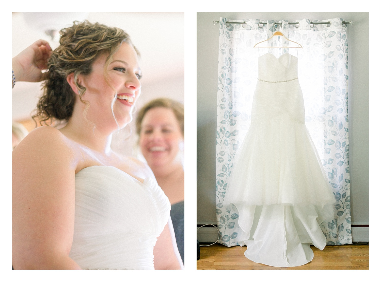 Becky and her Bridesmaids got ready at her Mothers home, where we had ample light and white walls .