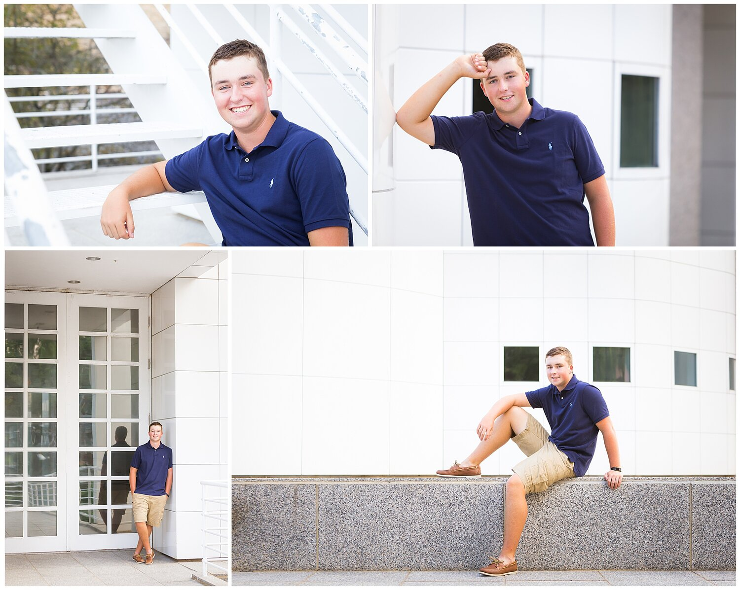 Senior boy in navy blue polo shirt and khaki shorts