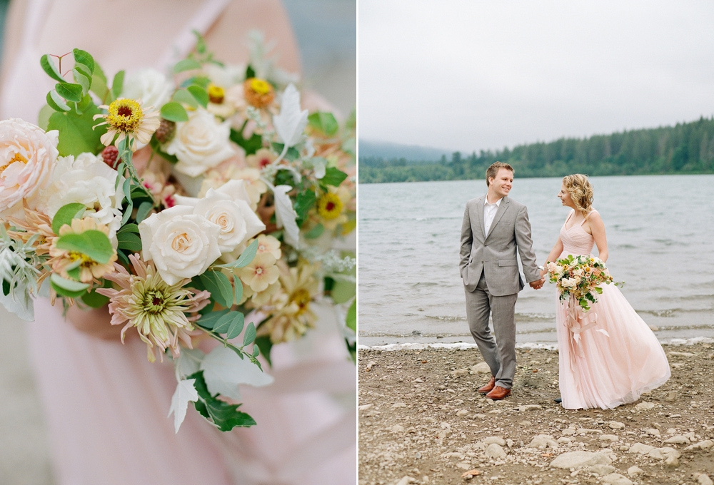 white pink yellow and green bouquet and couple strolling alongside rattlesnake lake