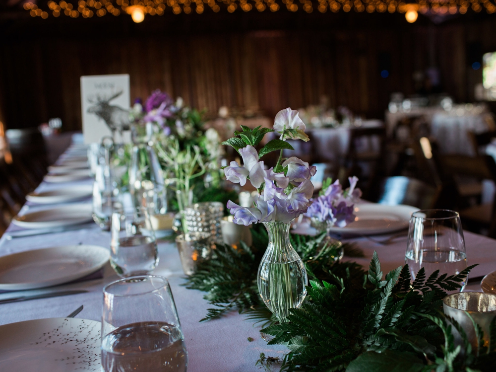 lavender flower centerpieces with fern accents