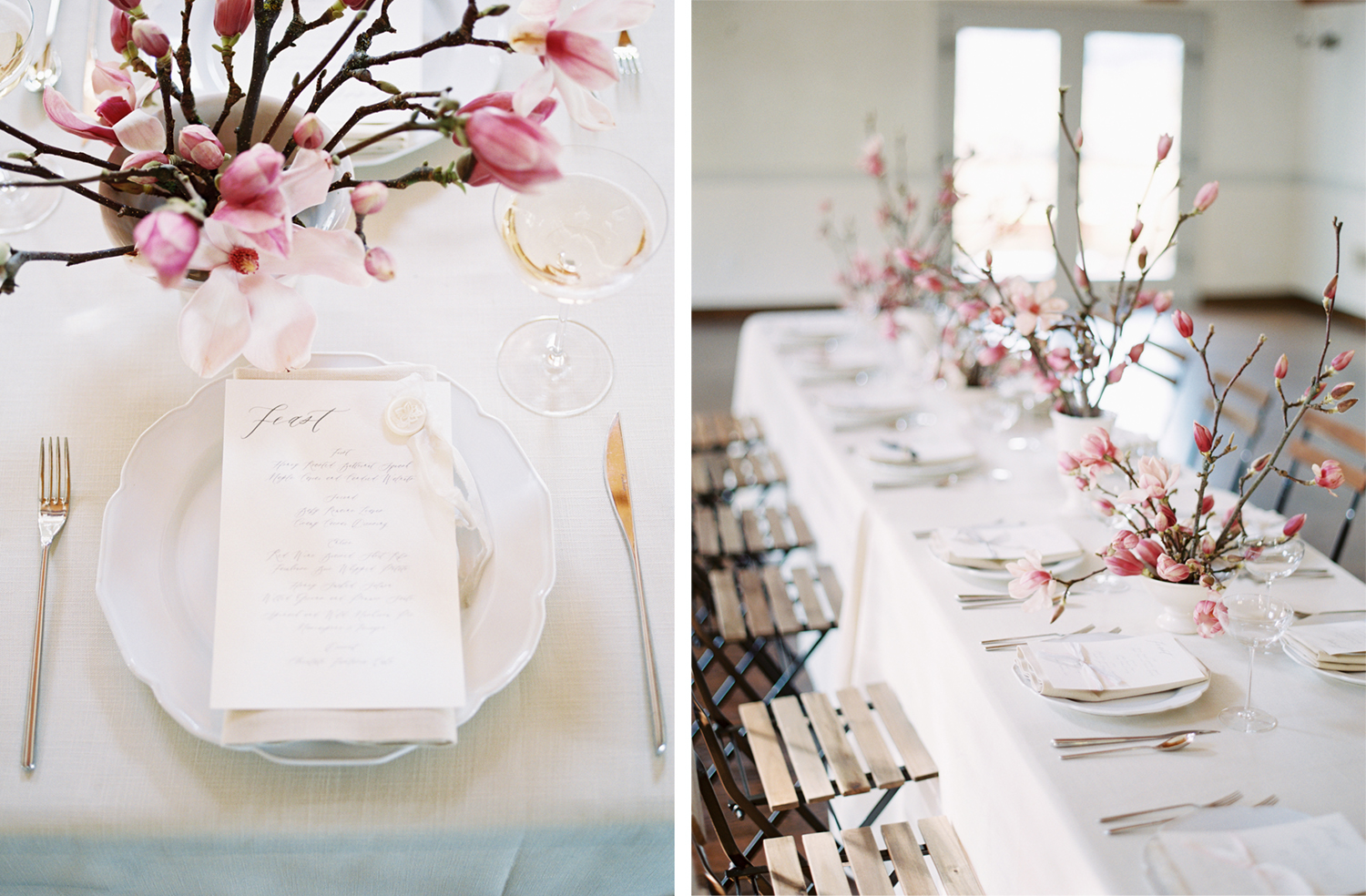 white table cloth with minimal design pink flowers with woody stems