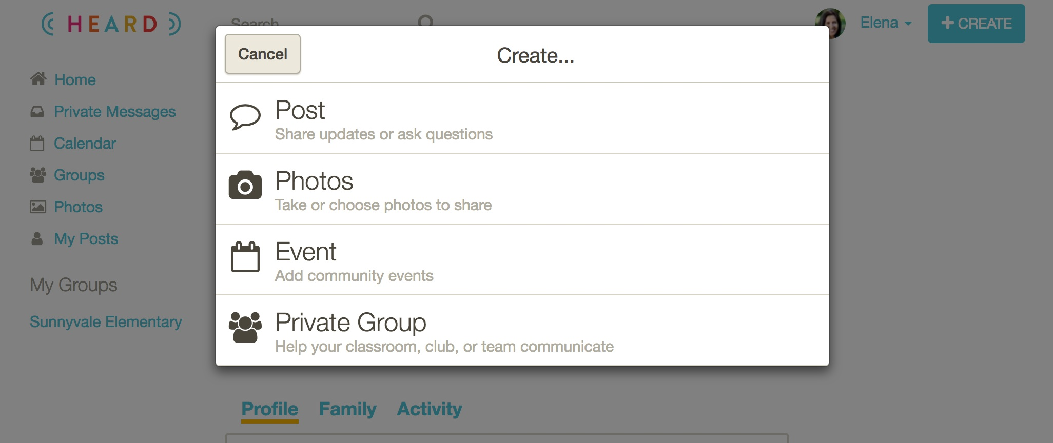 2. Click Private Group. -