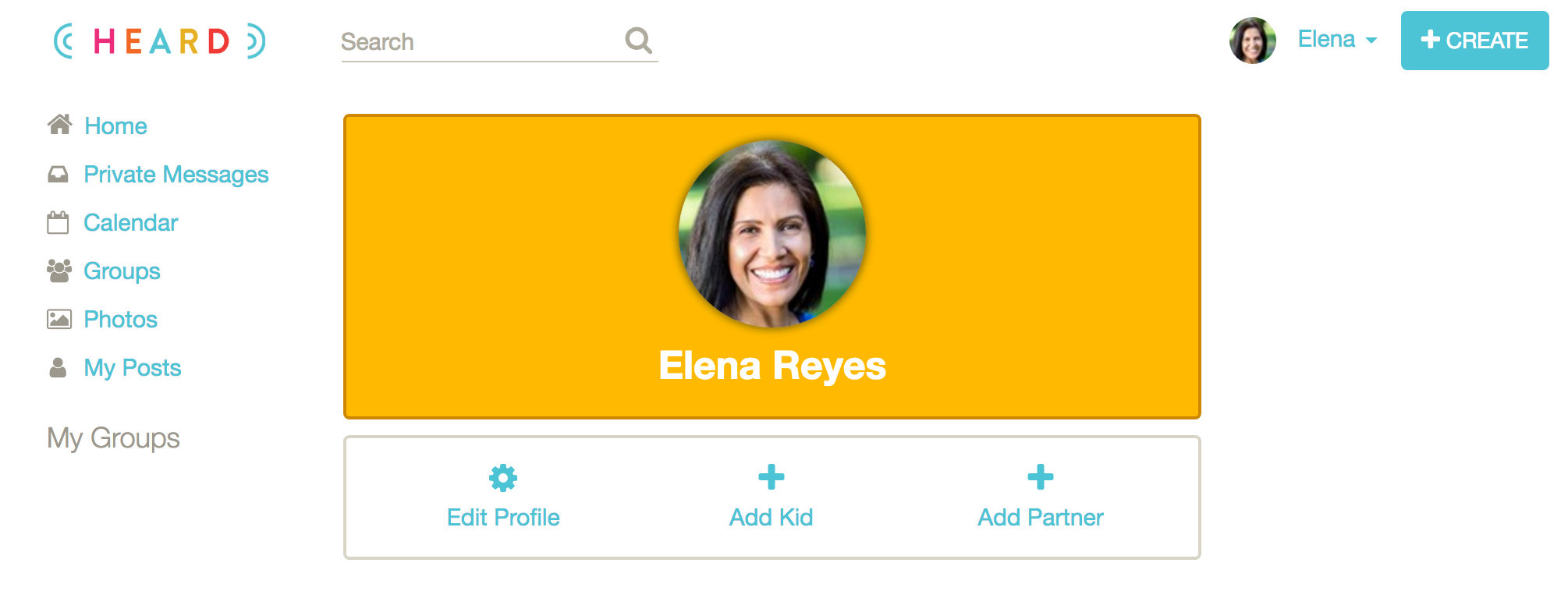 1. Once your profile is complete, it's time to create your class group. Click +CREATE at the top right. -