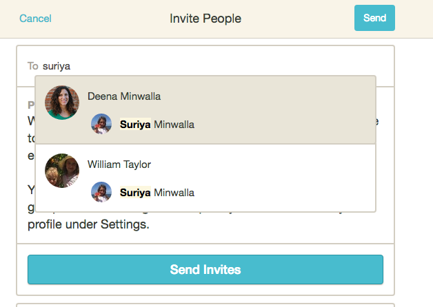 For teachers inviting parents to a class group that is a subgroup of a school group on HEARD: You can search by a child's name to find their parents to invite. Once their parent pops up, select their profile and they'll be added to the invite. - If you don't see a child's name when searching, either their parents have not been invited to the school group or they have not added their child to their profile.