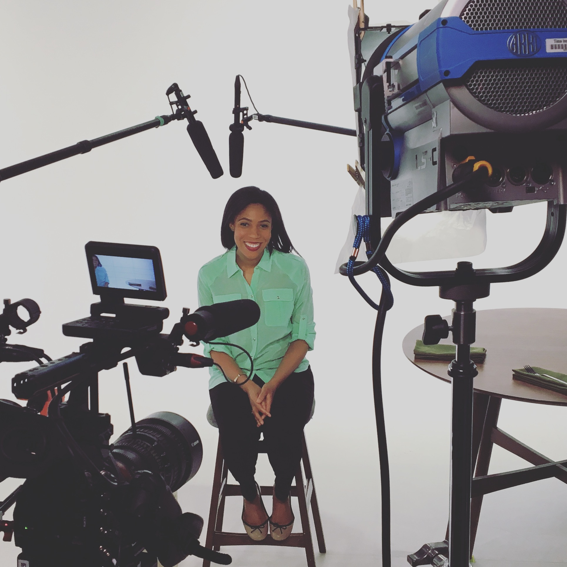 Behind the scenes of filming an internet an promo.