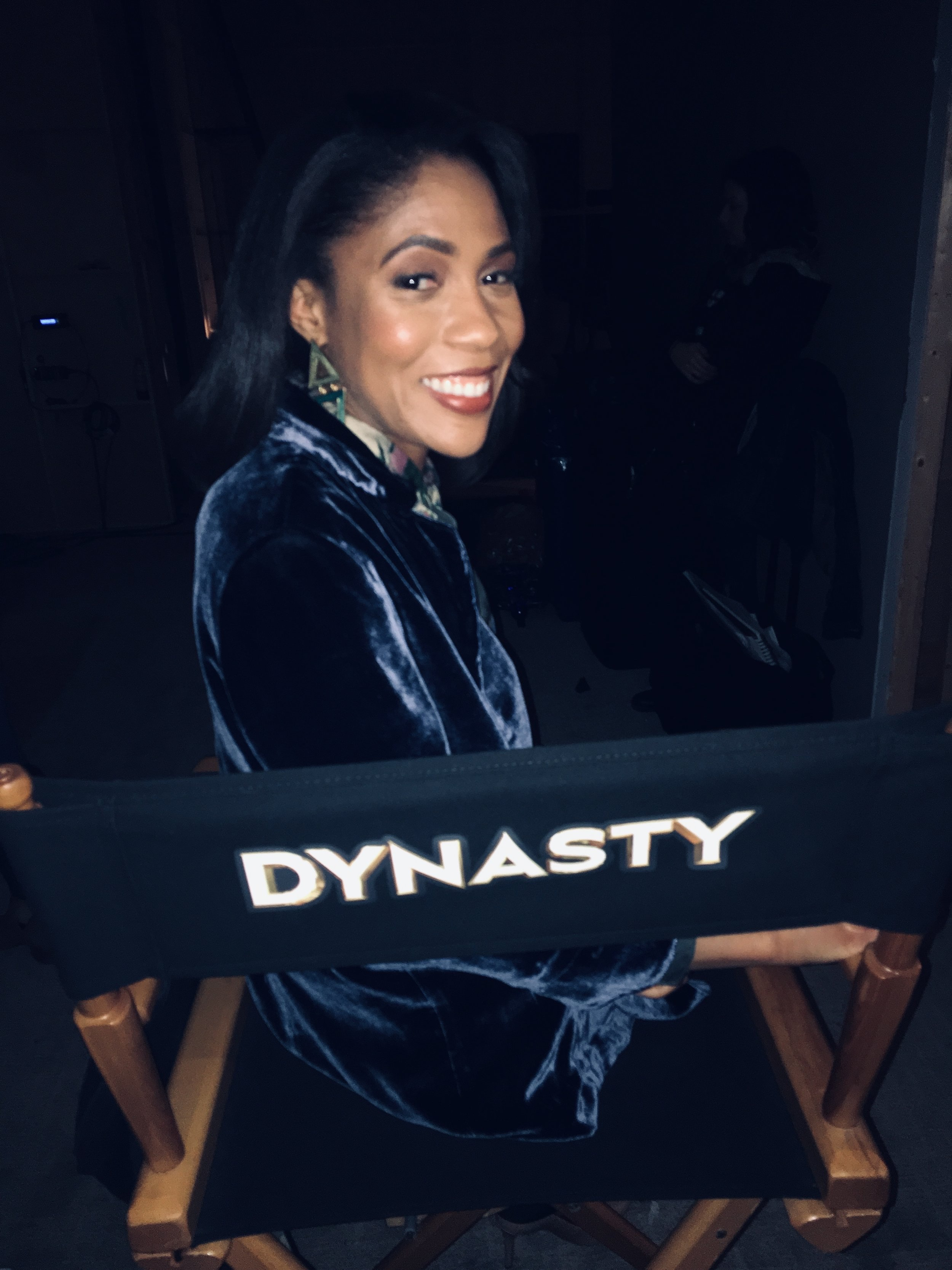 On the set of Dynasty.