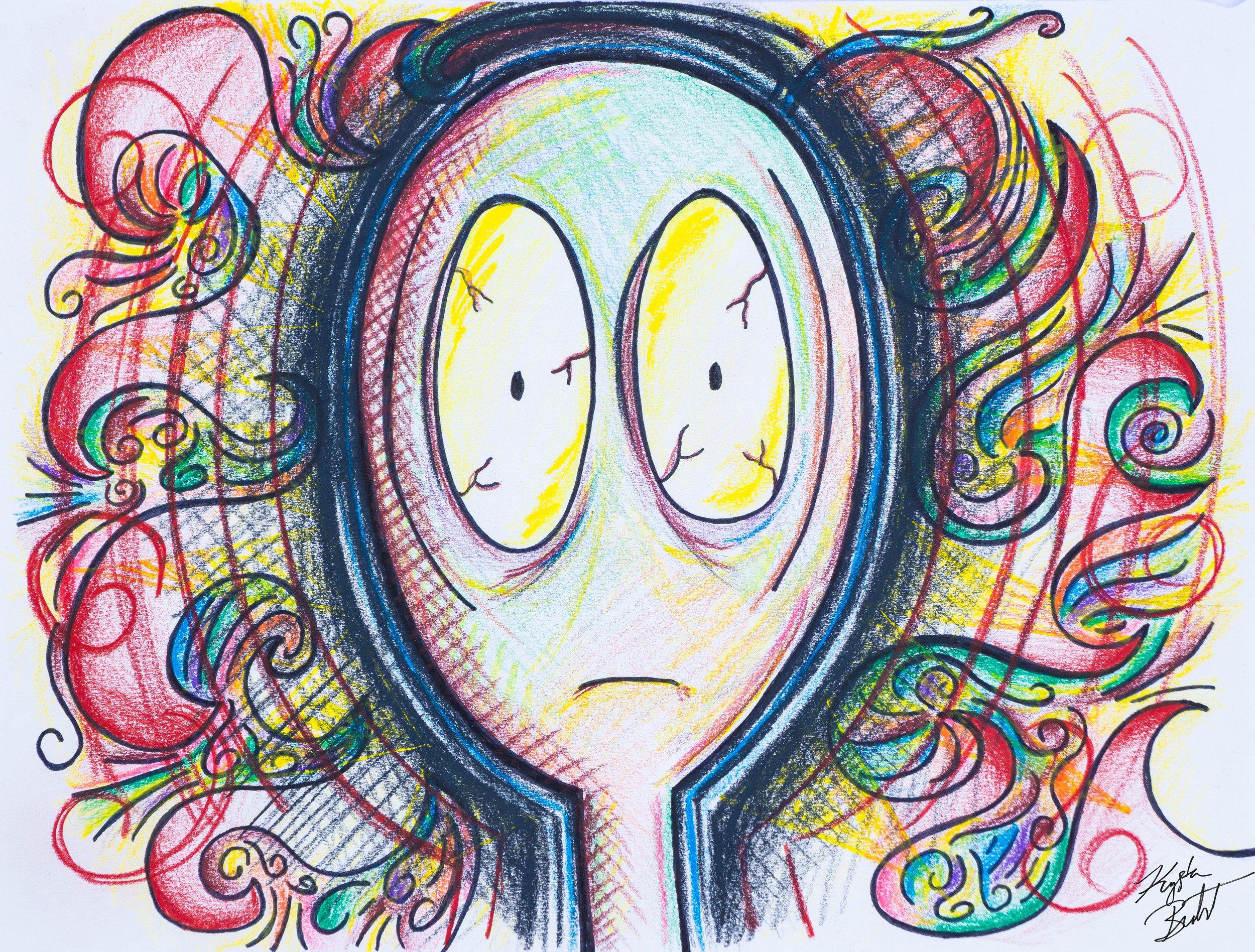 """#freakingout"" by Krysta Bernhardt (emoji, pencil drawing, colored pencil, ink)"