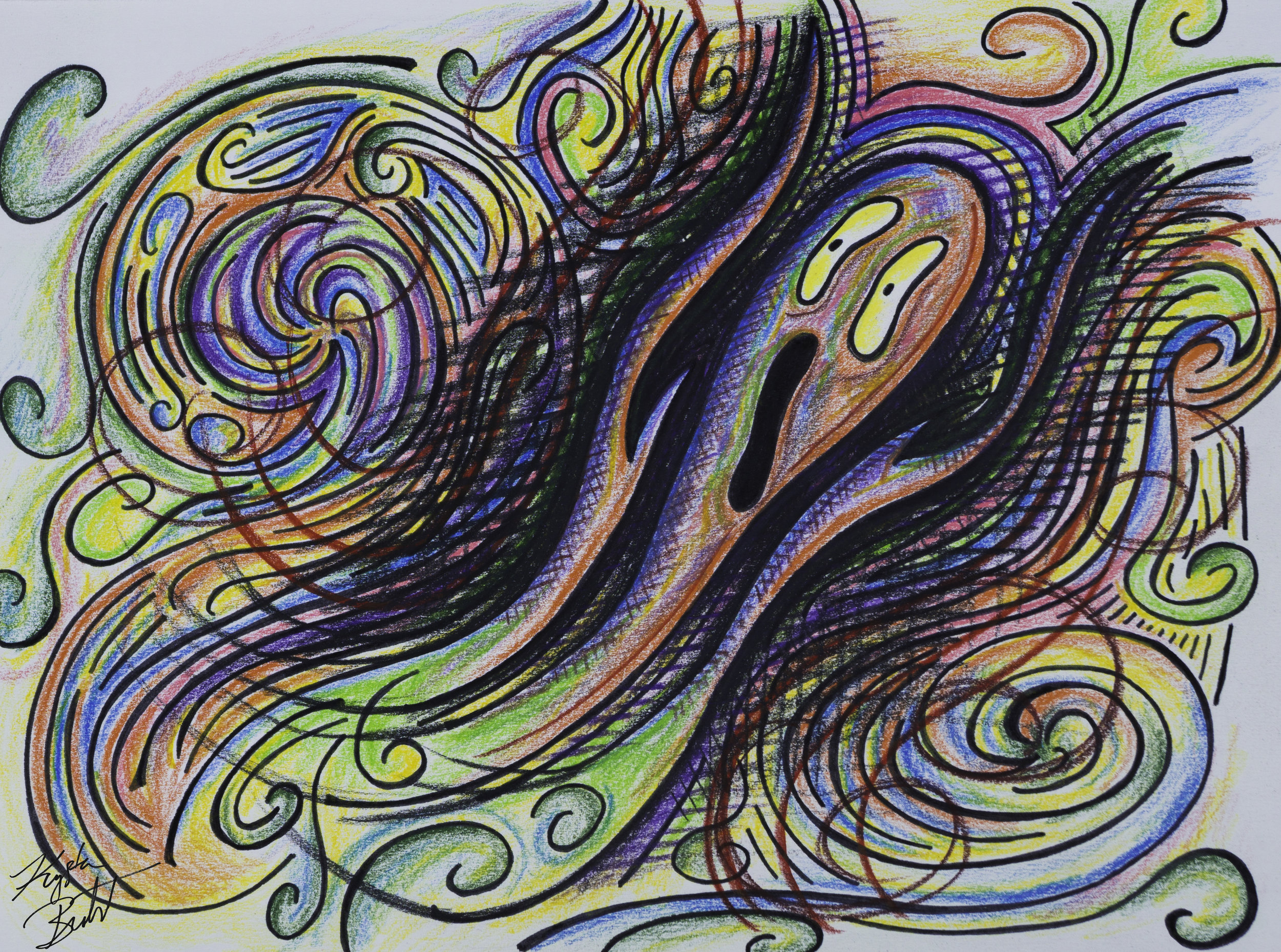 """#anxiety"" by Krysta bernhardt (emoji, pencil and ink, scream)"