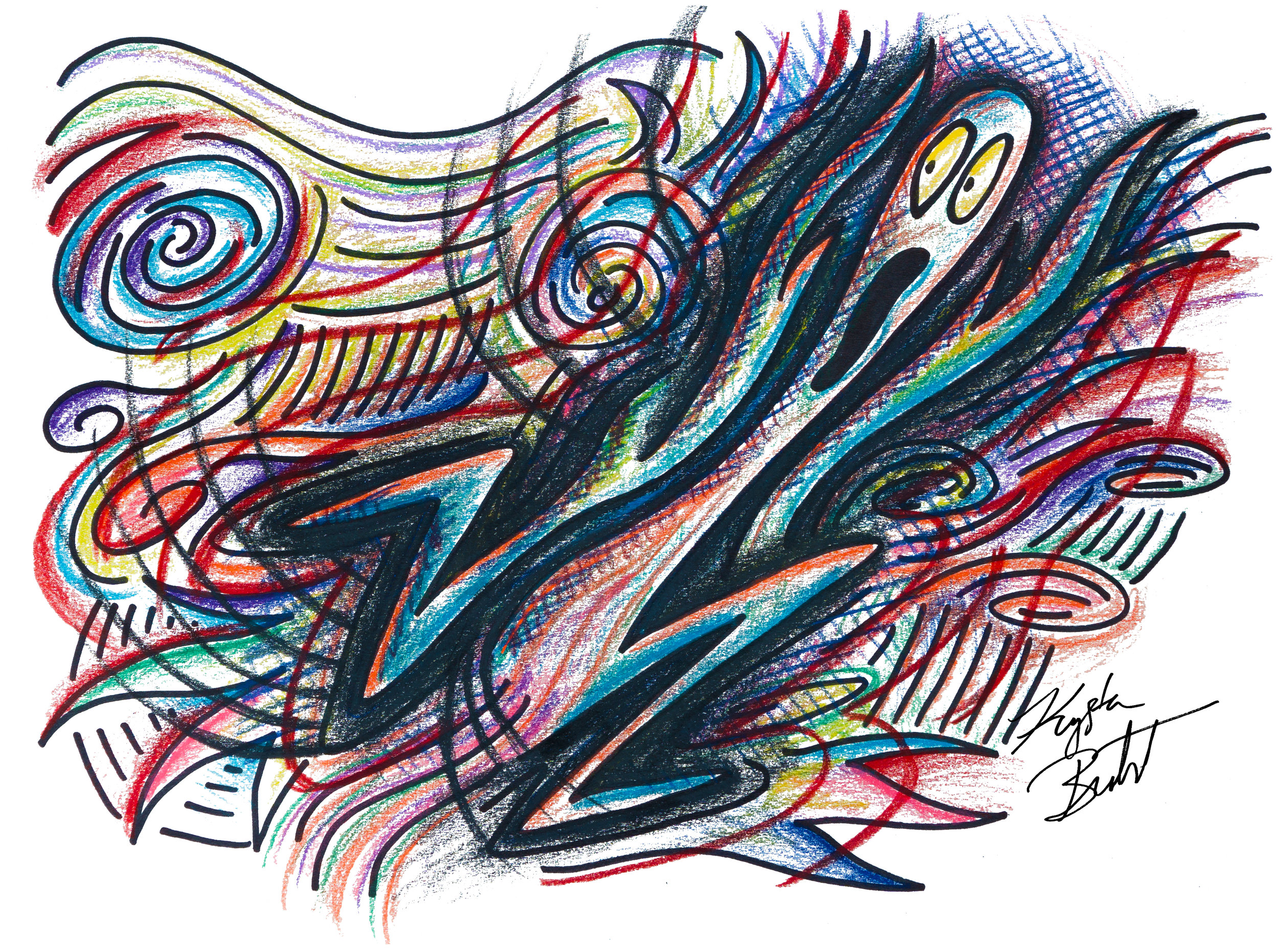 """#socialanxiety"" by Krysta Bernhardt (social anxiety, scream, drawing, pencil and ink)"