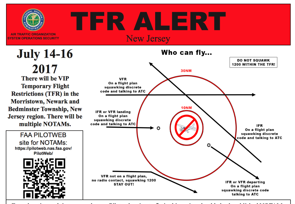 The FAA's notice to pilots to stay clear.
