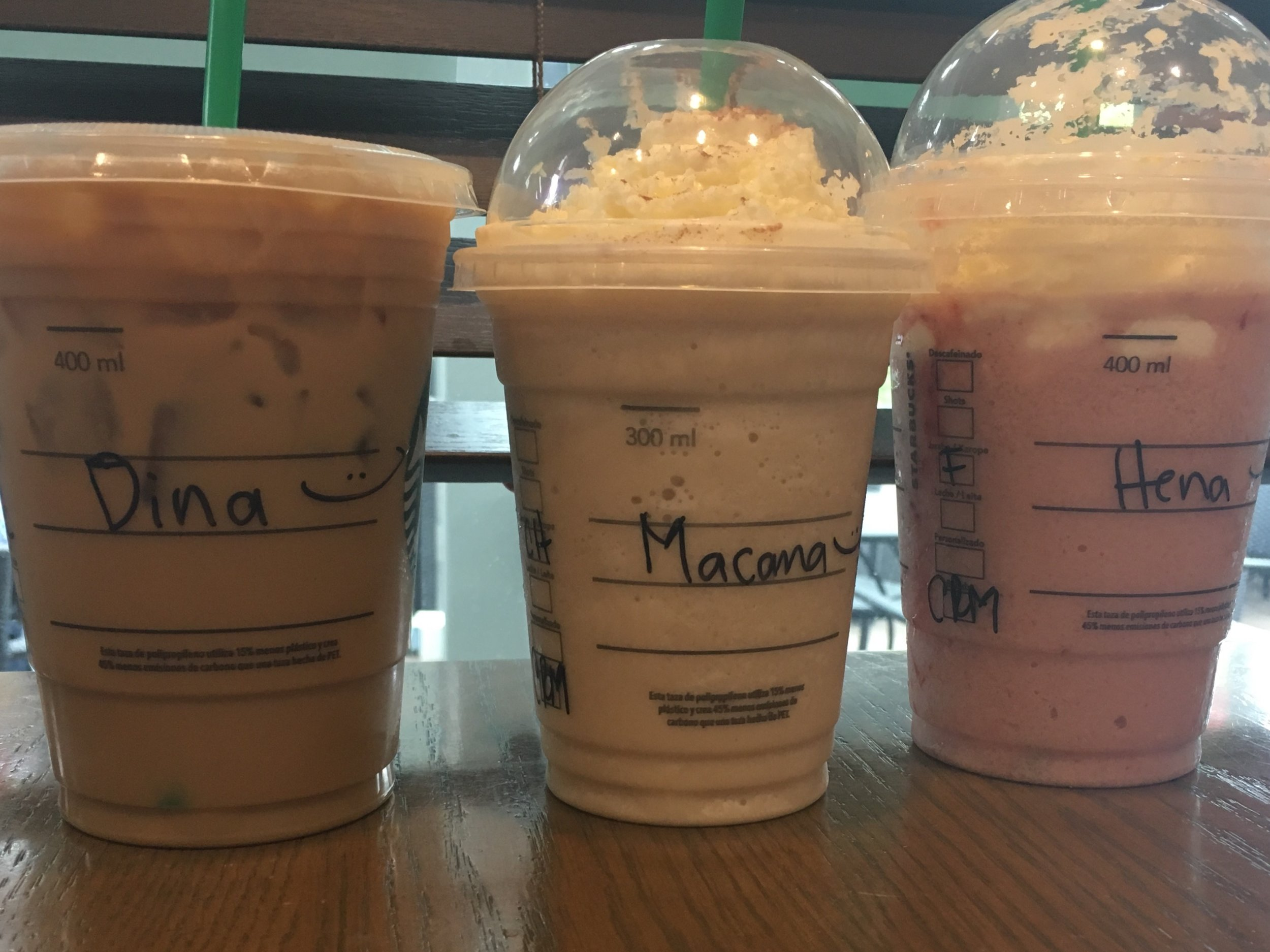 We got a good laugh out of the way Starbuck's spelled Tina, McKenna, and Hannah!