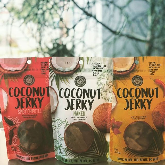 Our lineup! Grab some today via our webshop or from one of our partnered retaleirs. #cocojerky #guiltfree #crueltyfree #paleo #soyfree #nongmo #vegano  #organic #glutenfree #snackfood #futureofsnacking #vegan #rawvegan #raw #coconut #jerky #snacking #vegans #coconutjerky #vegansofig #rawvegansofig #lovecoconut #veganfood #plantbased #veganlife #vegansnacks #whatveganseat #veganrecipes  #coconutgrove #fall