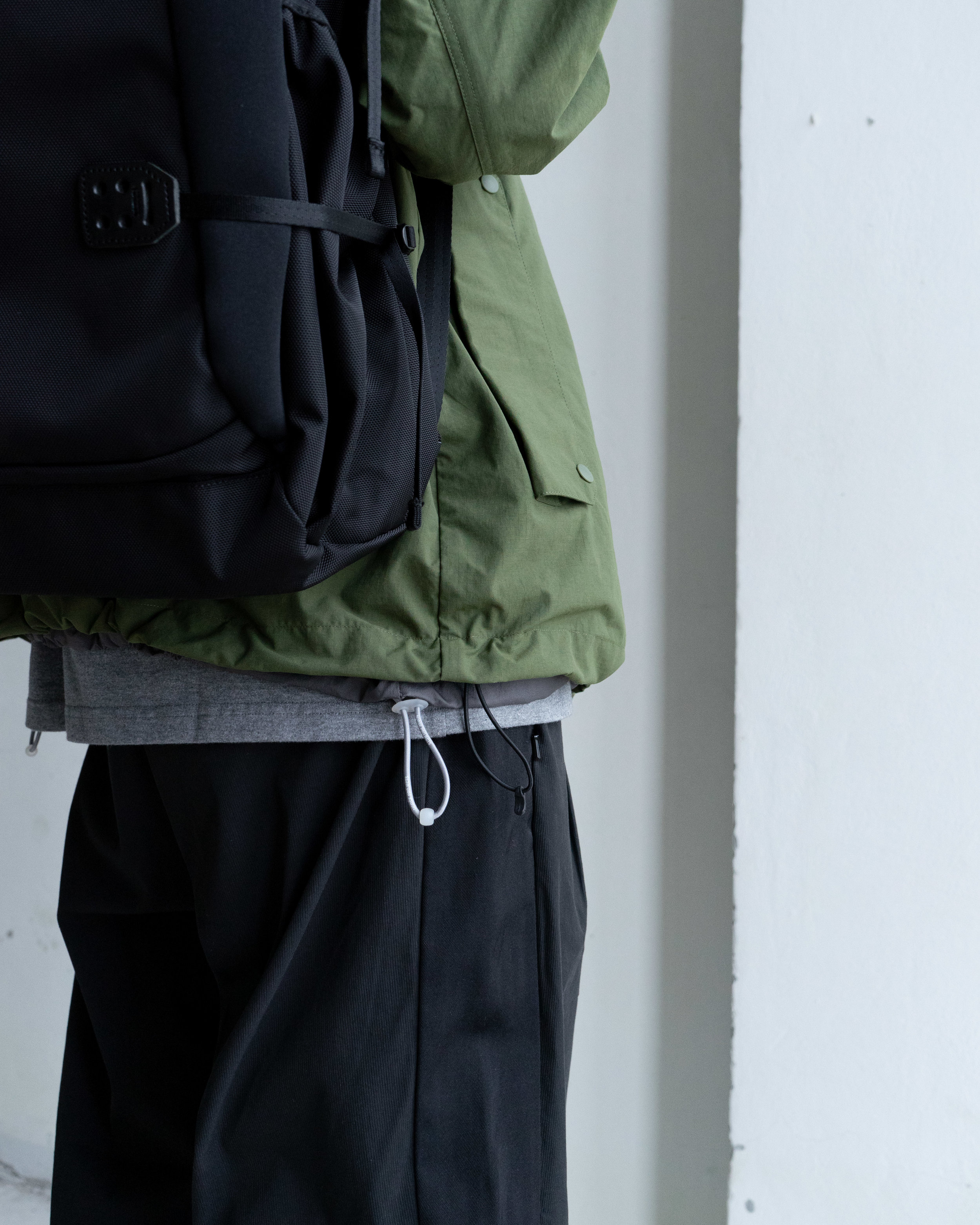 Goldwin Lifestyle - Coach Jacket   Norse Projects - Kalmar Light Rain Jacket   F/CE - Slash Wide Tapered Pant   Carhartt WIP - Chase T-Shirt   F/CE - AU 2Way Bag