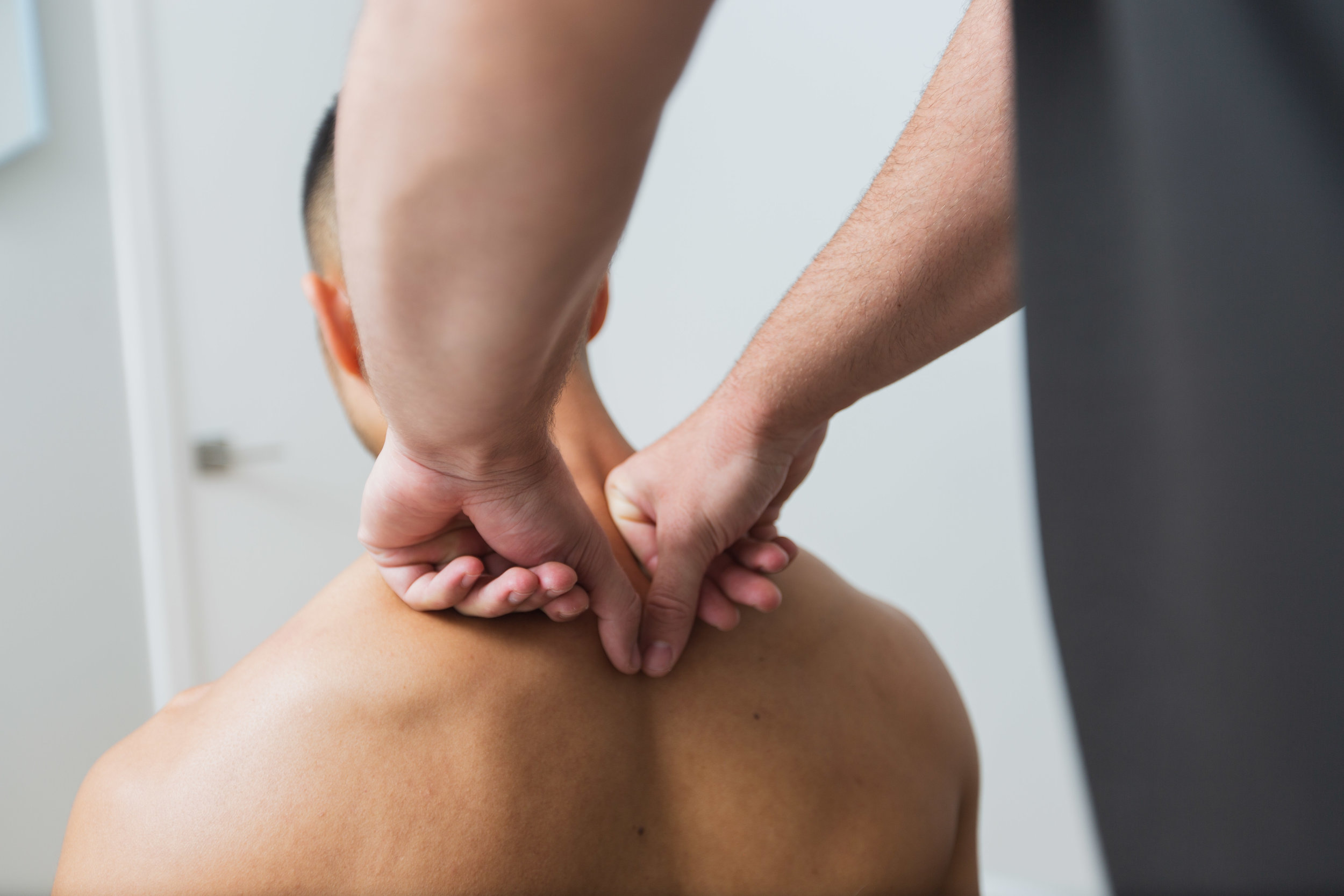 The release technique commences where the neck and shoulders meet, and is applied in a downward motion to increase the length of the Superficial Back Line.