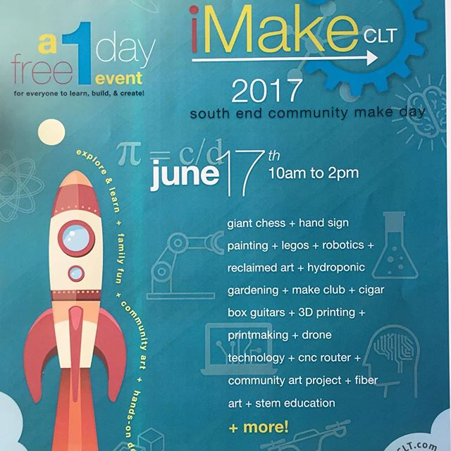 iMake Charlotte happening now at C3 Labs - this would make a great spontaneous date for you and anyone still at your place this morning. 😉 Or just come by yourself - but come! It looks awesome. 🔬