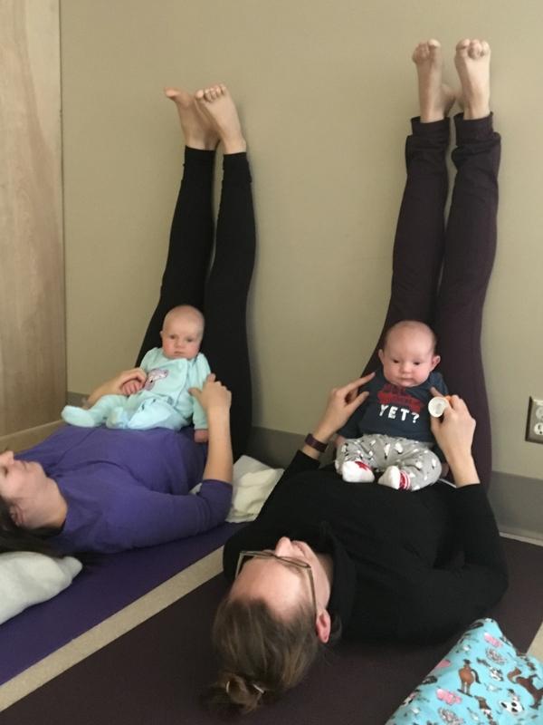 Moms and Babies practicing yoga in Vanderhoof CPNP Mom and Baby Yoga Program