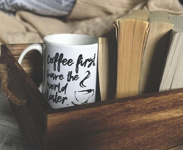 """The Vestige"" mug by Verge of Wisteria. Shop here:https://www.vergeofwisteria.com/products/coffee-first-mug-the-vestige"