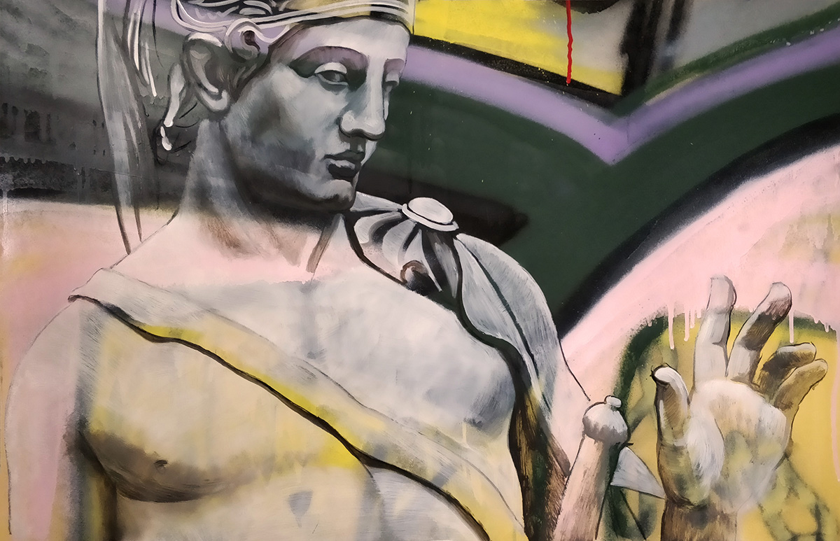 Greek Soldier_Spray paint and oil on paper_23 x 36 inch (c).jpg