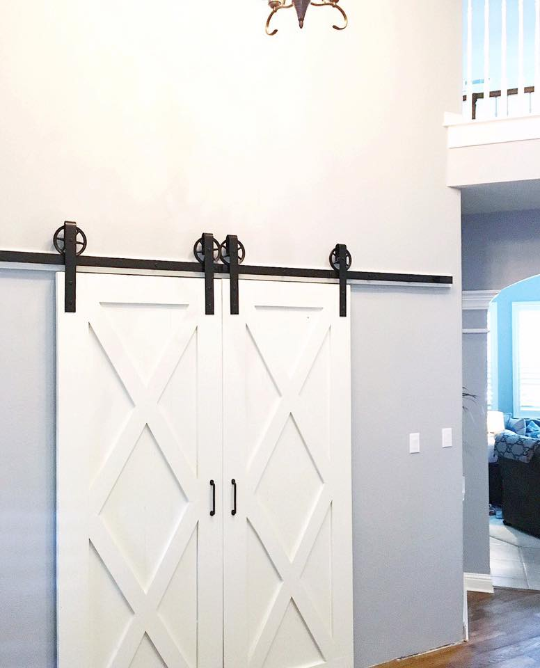 Double X-Brace Barn Door, with No Mid-Bar (Vertical Plank Back & Double Door Hardware)