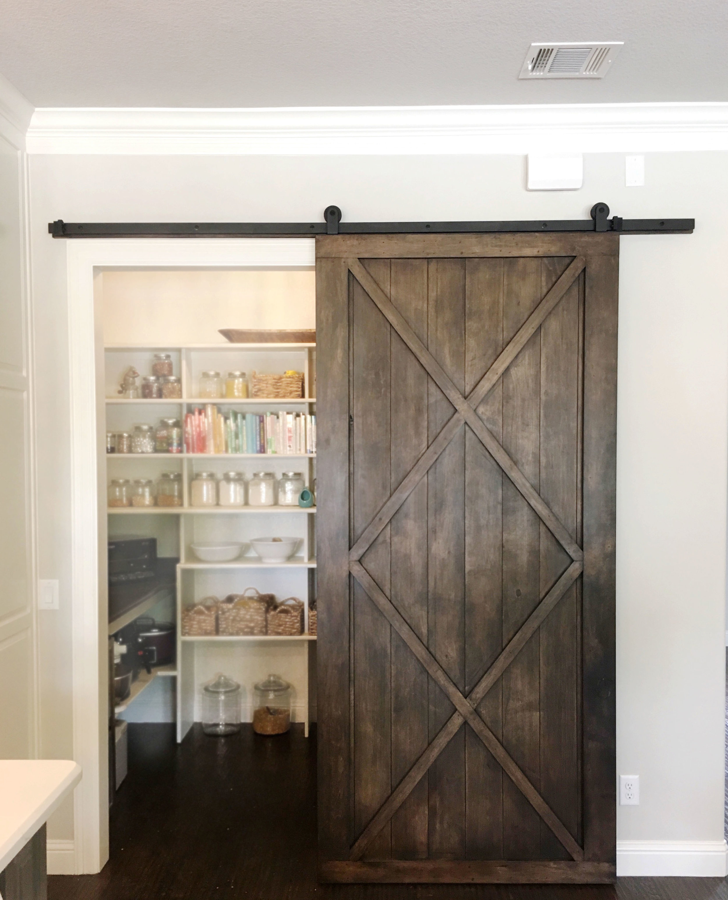 Modern Double X Barn Door With Border (Vertical Plank Back) *Maple