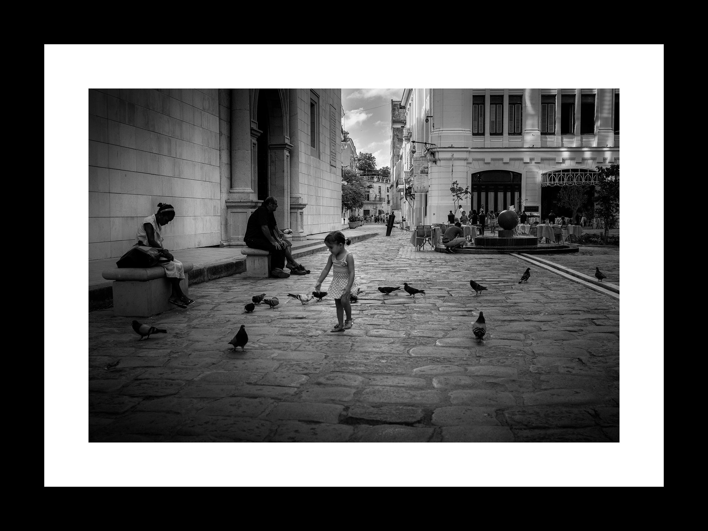 "LA NIÑITA CHASING PIGEONS | © PRESTON LEWIS THOMAS | 32""W x 24""H FRAMED, ED.20"