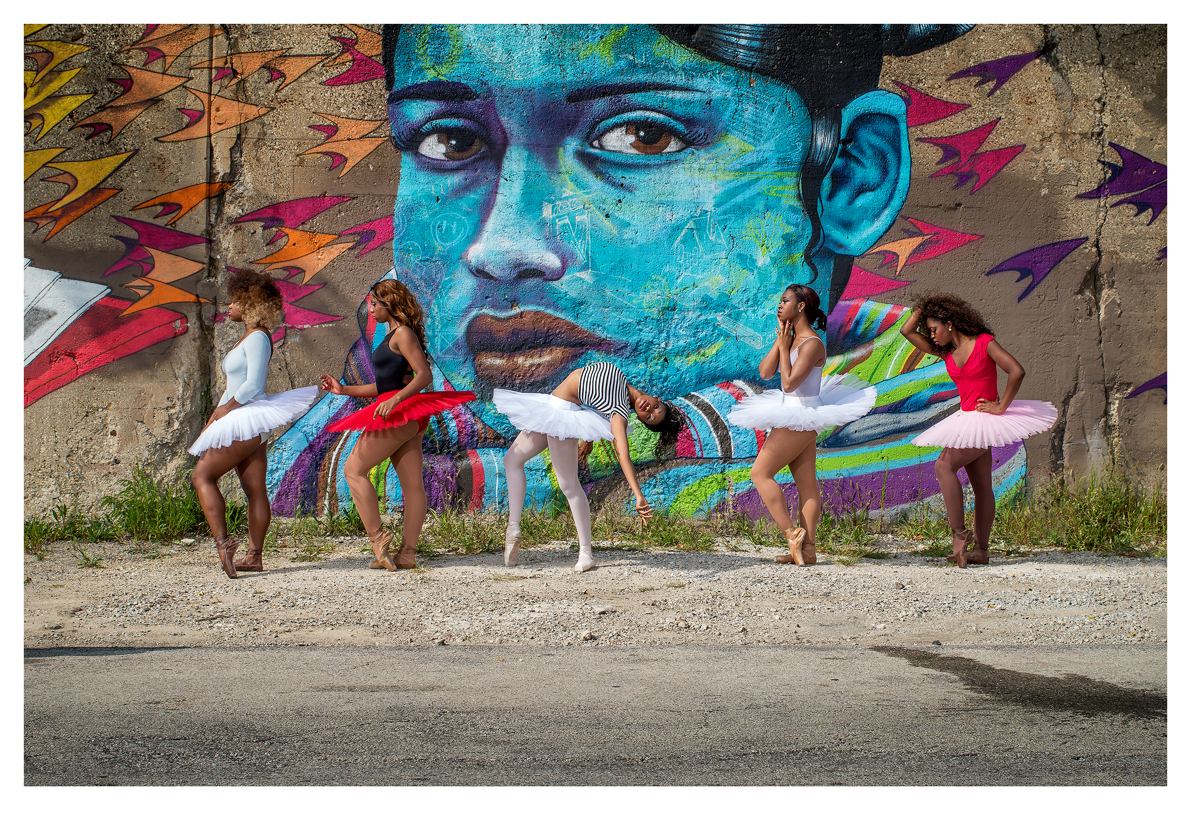 ballerinas and the blue chicana | © preston lewis thomas |  mural by artist over under