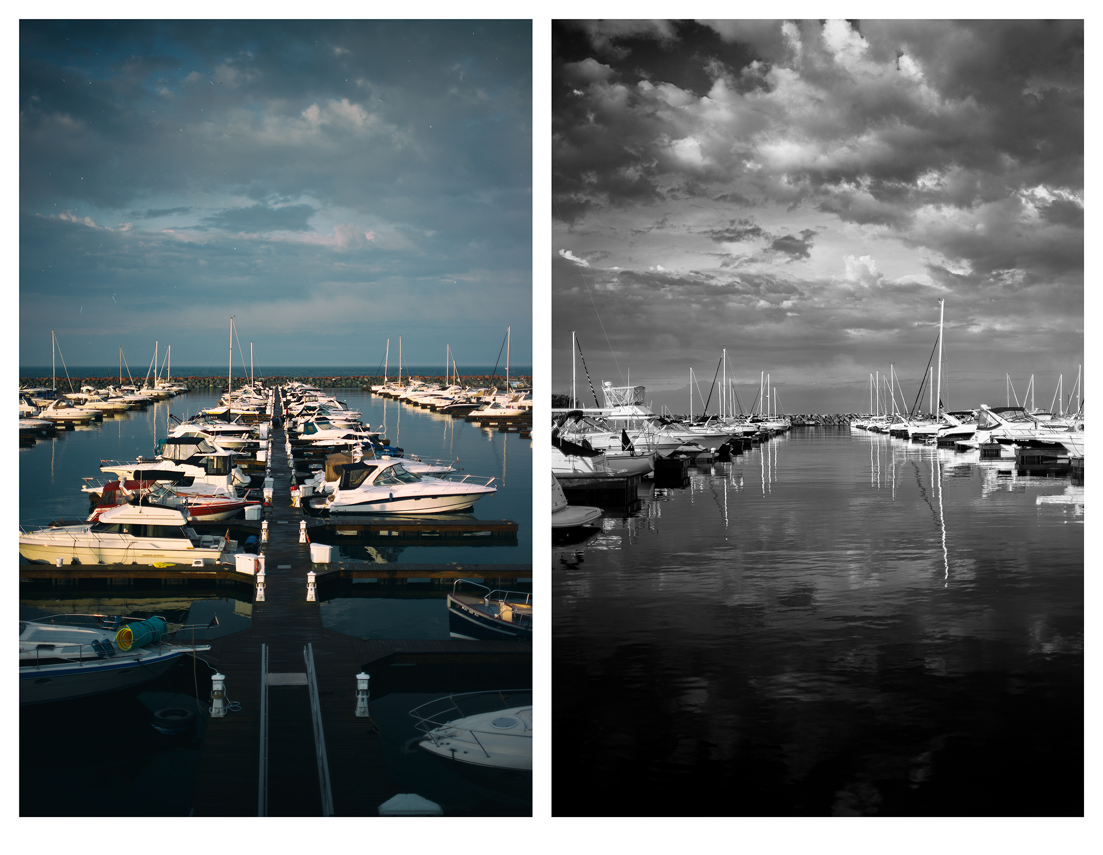 (L) The Painted Port | (r) Lens Painting in monochrome
