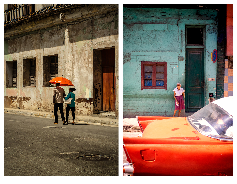 (L) The Orange Umbrella, Ed. 1/10 | Abuela with Orange and Green, Ed. 2/10