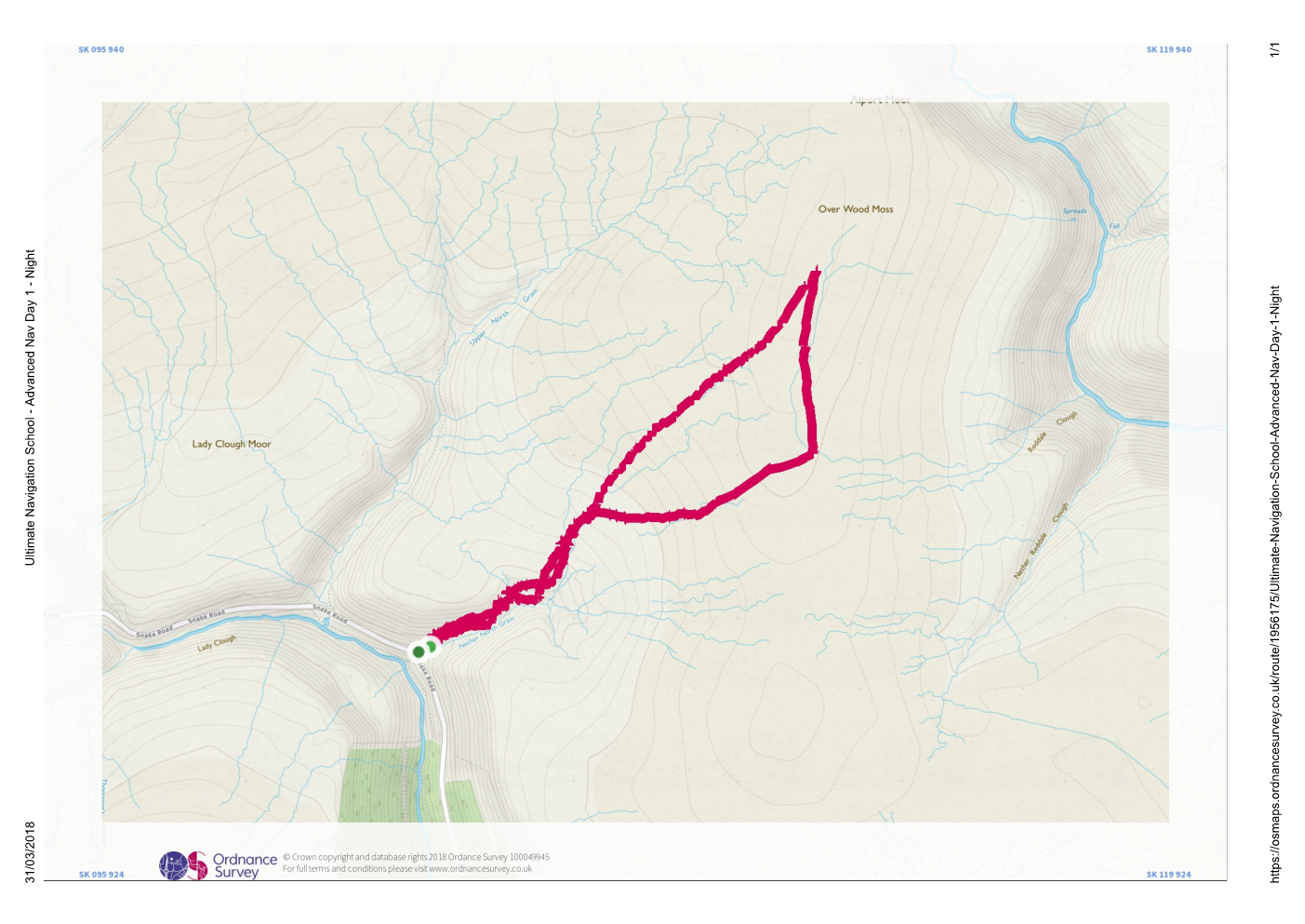 Saturday Night Route - UNS - Advanced Navigation Course
