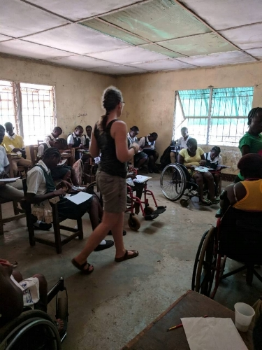 In the classroom at Mission of Hope for the Disabled.