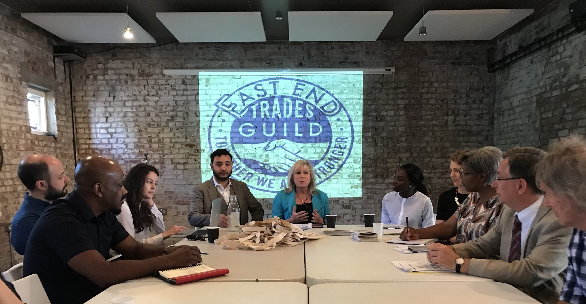 A+B at an East End Trades Guild meeting with the Greater London Authority to discuss affordable workspace