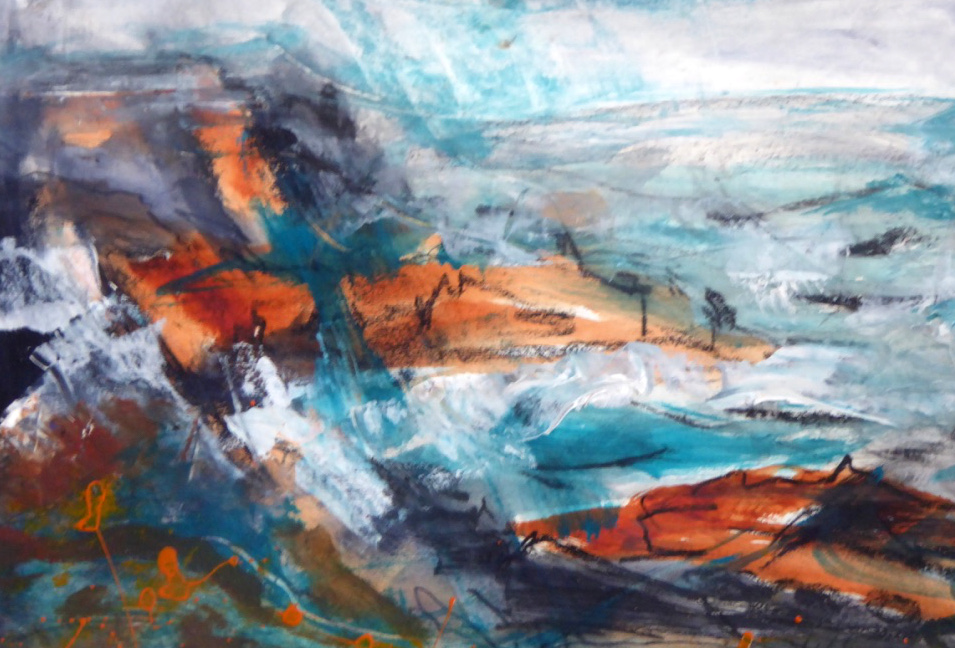 Wind and Waves (Cape Cornwall) - mixed media on paper
