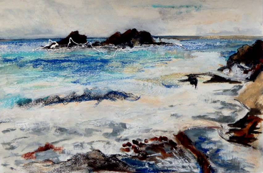 Cape Cornwall: Waves 1 - mixed media on paper