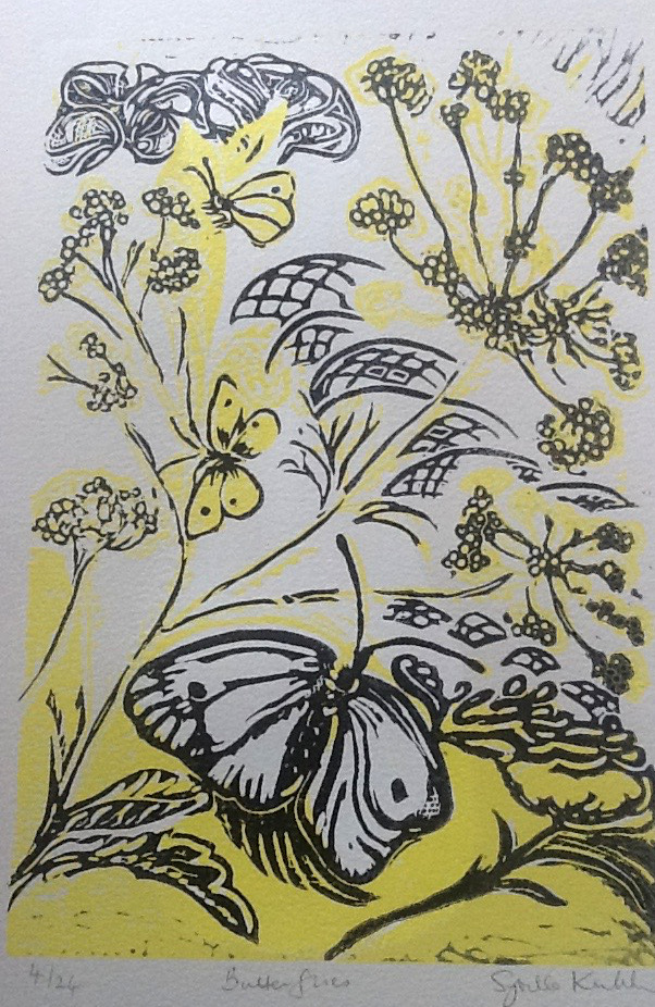 Butterflies (Cabbage Whites in the veg garden!) - two blocks - 47x36 cm unframed
