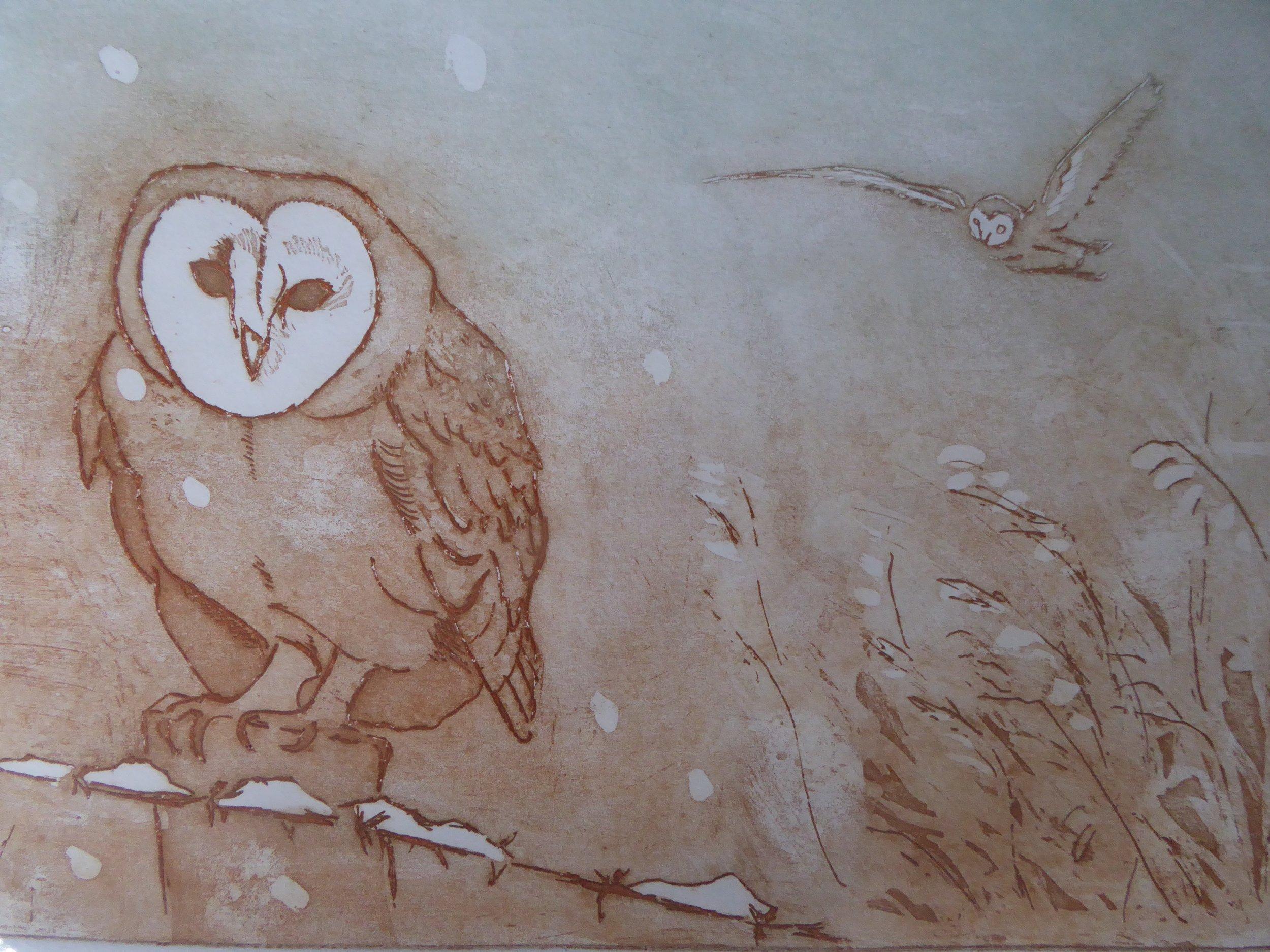 Wintery Owl - 41 x 57cm (unframed)