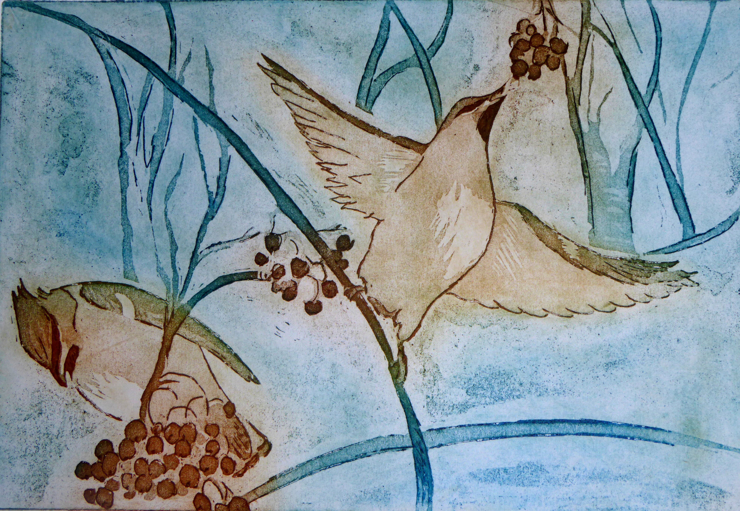 Birds and Berries - 40 x 33cm (unframed)