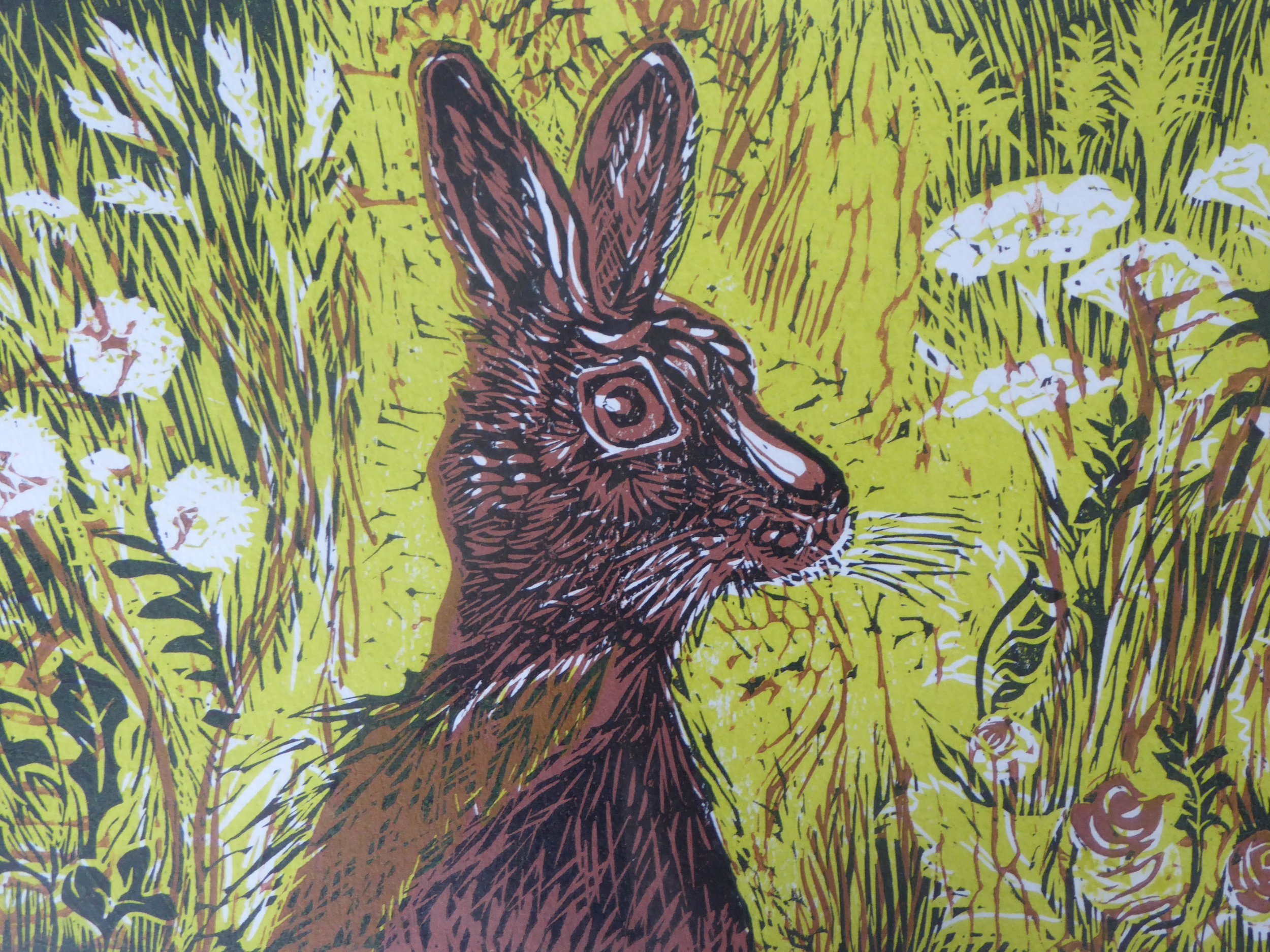 Spring Hare (multi-block lino cut) - 32 x 40cm unframed  After many years of absence, the hare has returned to the fields around where we live!