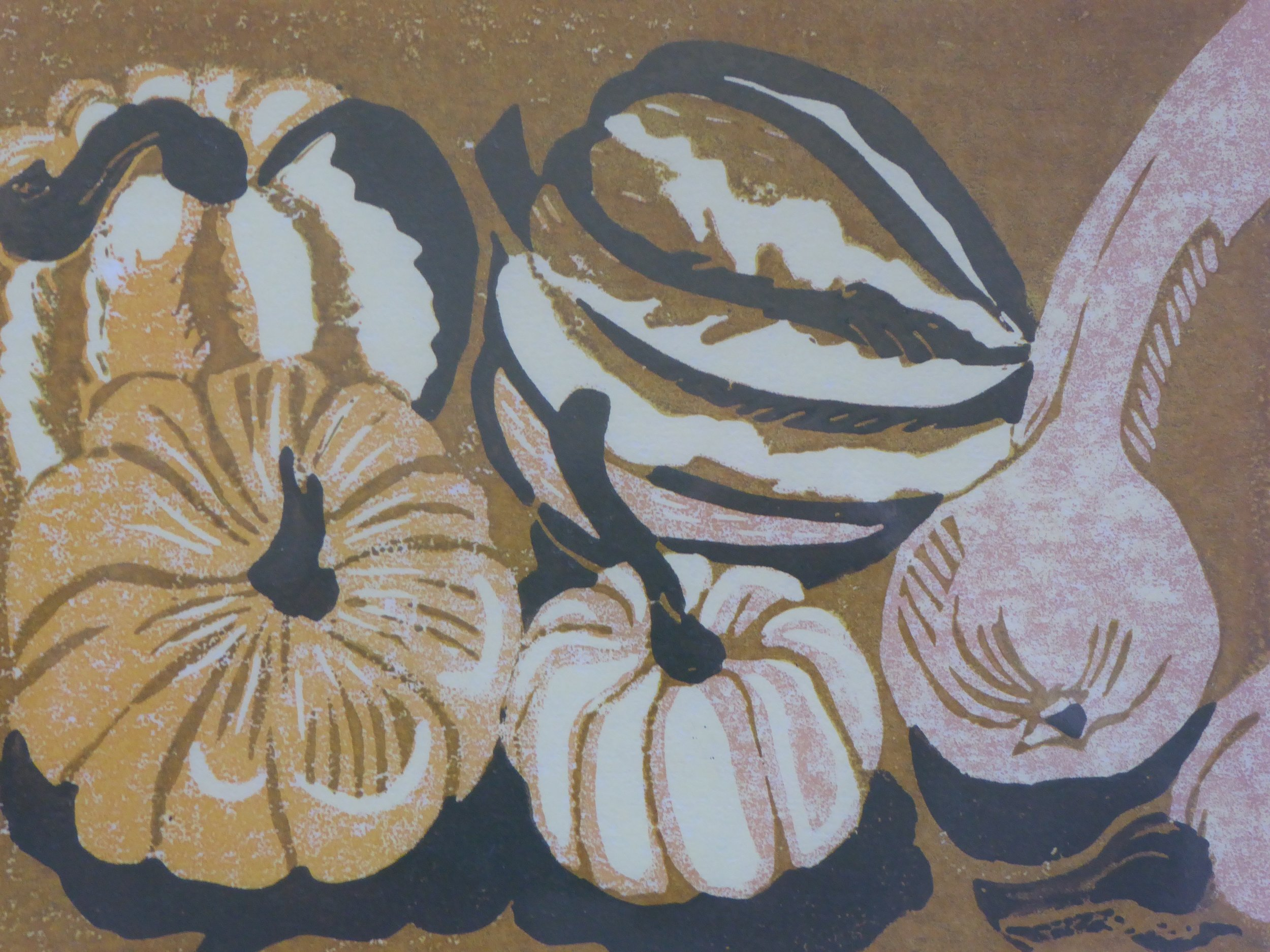 Squashes from my veg garden (reduction lino cut) - 28 x 33cm unframed