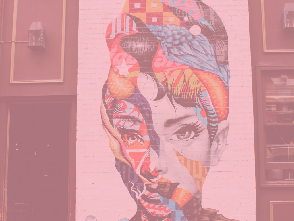 Mural of Audrey Hepburn at Caffe Roma