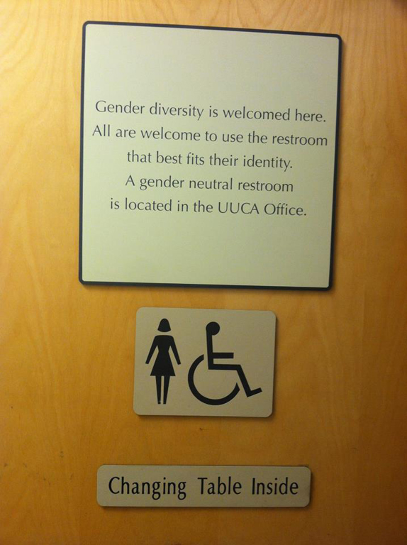 If your business only has multi-stall women's or men's restrooms, consider adding a sign stating that your establishment is welcoming to all