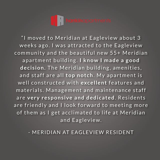 """I know I made a good decision."" ✨  With a 4.9 / 5 rating on apartmentratings.com, Meridian at Eagleview continues to shine! #55andup #apartmentliving #ExtonPA"