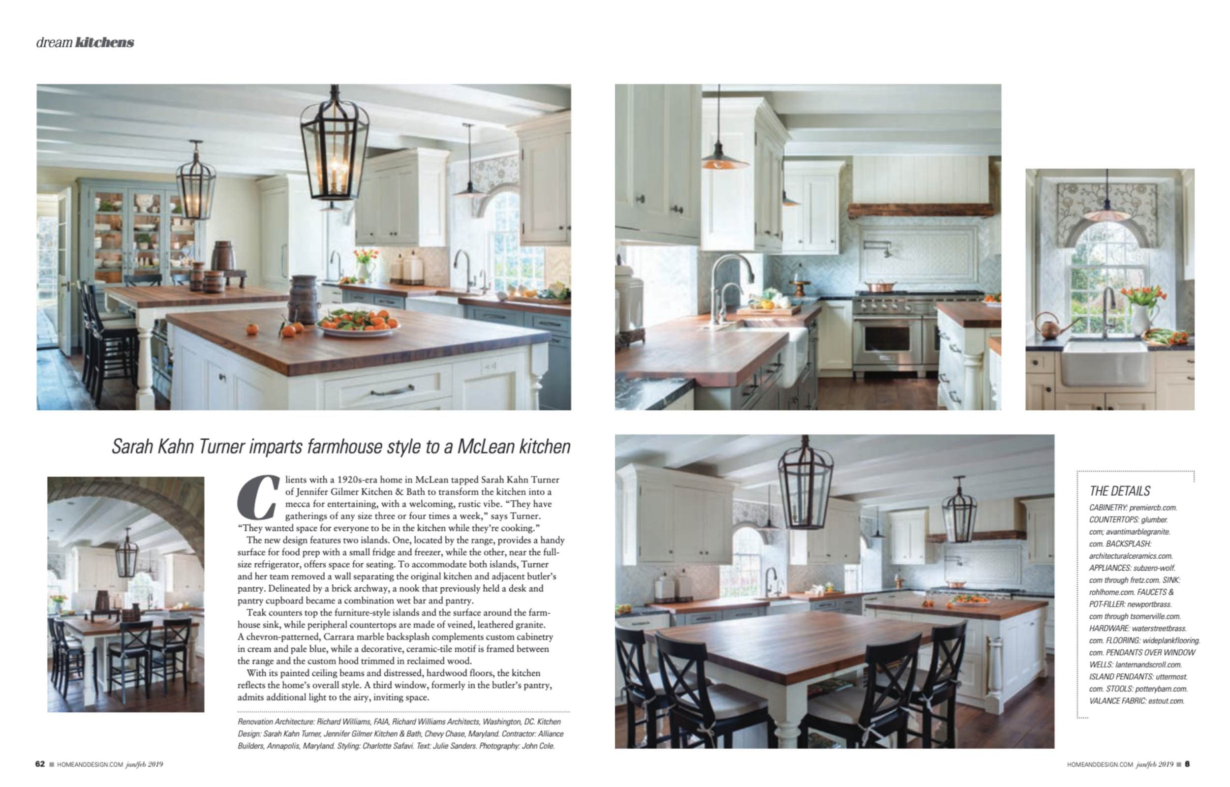Home & Design Magazine  January/February 2019 Issue Jennifer Gilmer Kitchen & Bath