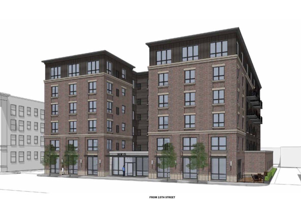 Apartment building currently under construction in Loring Park