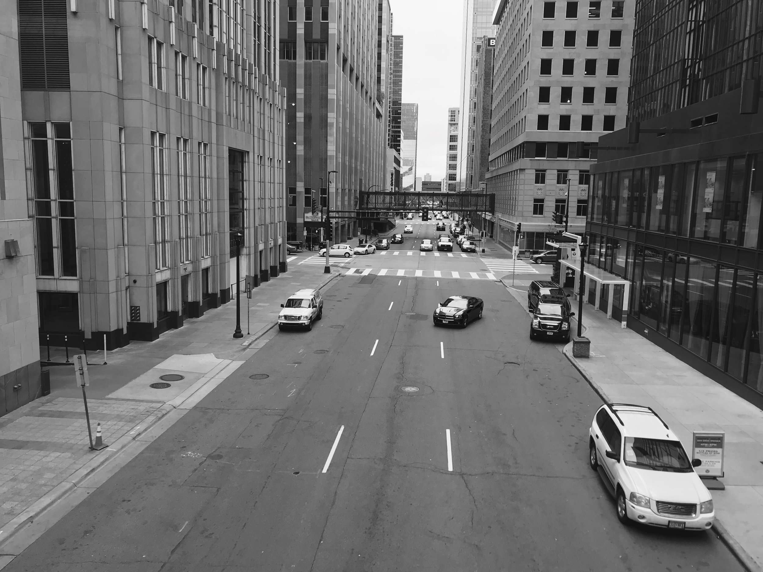A recent photo of Downtown Minneapolis around lunch time on a workday