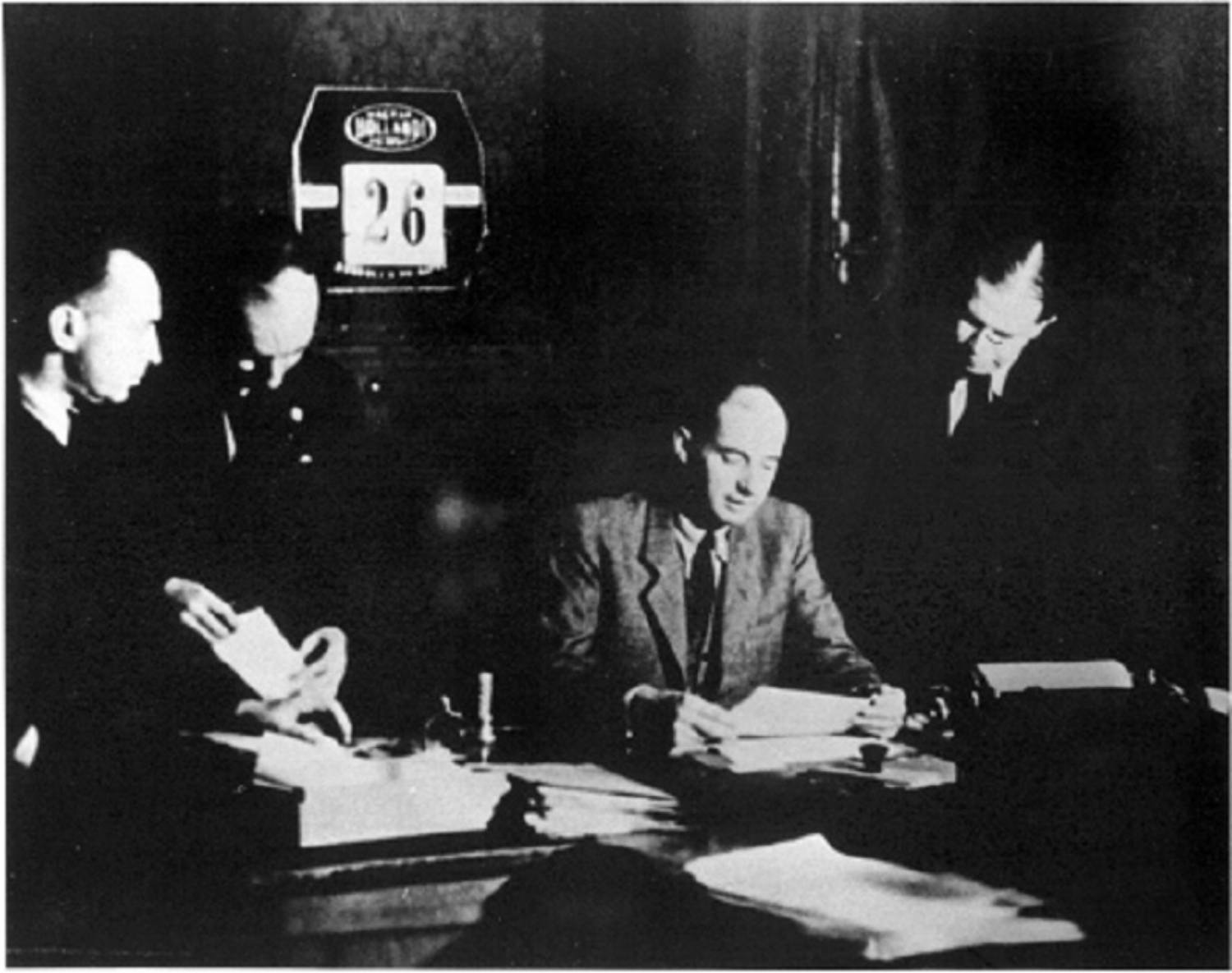 Raoul Wallenberg, Swedish Special Envoy in Budapest, 1944-45, with his Jewish staff members