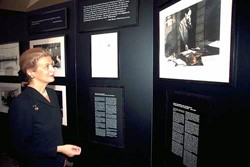 Nana Annan, wife of former UN Secretary General Kofi Annan and niece of Raoul Wallenberg, viewing Visas for Life exhibit at United Nations, 2000