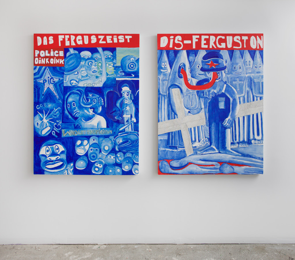 Peter Williams.  Ferguson, For Guston (diptych),  2014, Oil on canvas, 48 x 36 inches each
