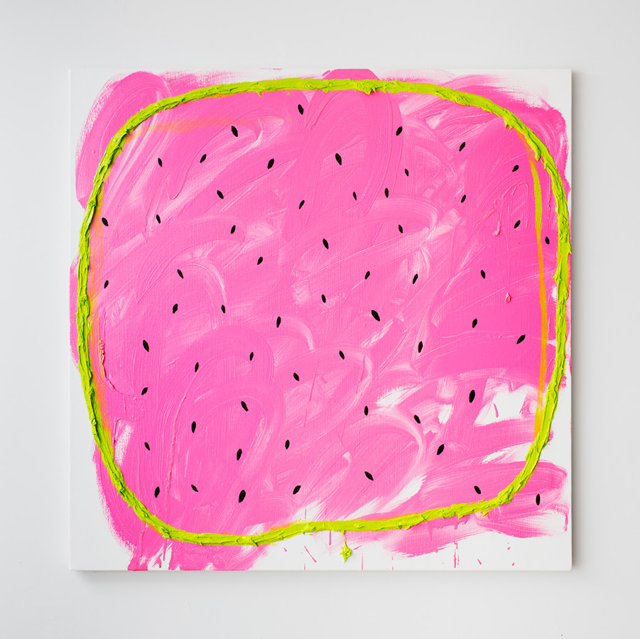 Watermelon with KB , 2013, Oil and enamel on canvas, 36 x 36 inches