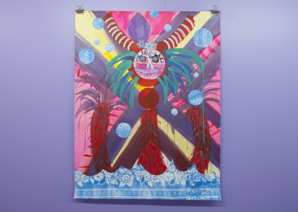 Tamara Gonzalez. La Sirena Rouge , 2011, Acrylic and collage on paper, 50 x 38 inches